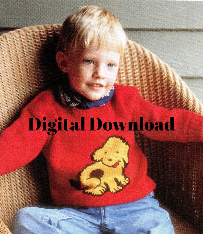 Graph Charted Sweater Pattern Digital Download Children\u2019s Knit Pullover Puppy Dog Pooch Sweater 5 Sizes
