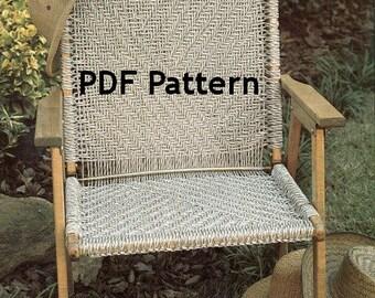 Macrame Chair Pattern, Hippie Bohemian, Vintage 1980's Pattern, Jute Knot Tying, Camping, Patio, Beach Chair, PDF Instant, Digital Download
