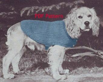 Dog Sweater Pattern, Puppy Coat, 3 Sizes, Vintage 1950's Knit Pattern, Pet Supplies, PDF Instant, Digital Download