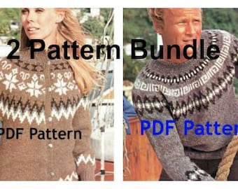 Men's Women's Knit Icelandic Pullover Pattern, Nordic, Fair Isle, Scandinavian Yoke, Bundle, Classic Vintage 1960's, PDF Digital Download
