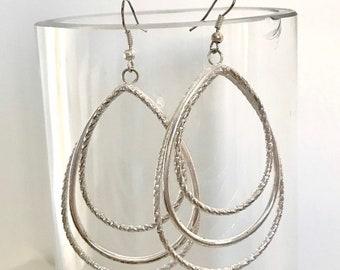 Aragonite Teardrop 10G hoop earrings