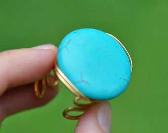 Turquoise Coin Ring (Adjustable)