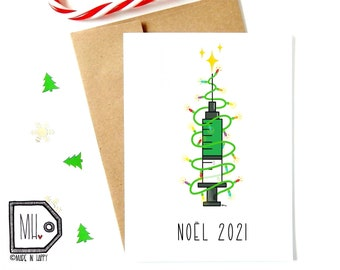 French card - Christmas card - funny christmas card - funny holiday card - vaccine card - pandemic card - Noël 2021 - vaccine Christmas tree