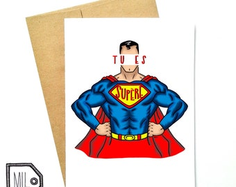 French card - fathers day - fathers day card - card for dad - dad card - fathers card - dad - father - papa - superman card - tu es supère