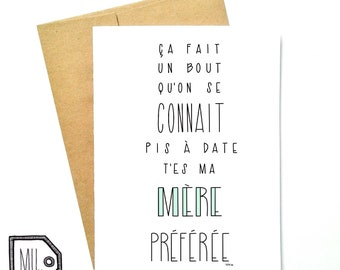 French card - Mothers day - mothers day card - card for mom - mom card - maman - mother - thanks mom - my favorite mom -ma mère préférée