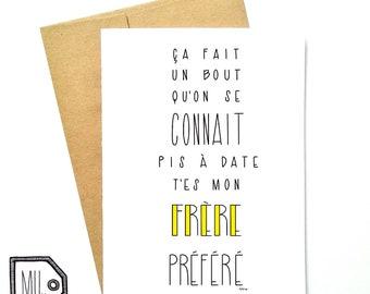 French card - funny brother card - card for brother - brother card - brother - frère- my favorite brother - mon frère préféré