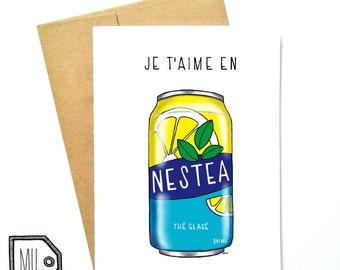 French card - love card - Valentines card - Anniversary card - funny card - girlfriend card - boyfriend card - je t'aime en nestea