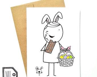 Easter card - spring card - funny easter card - friend card - chocolate card - easter bunny - easter basket - Easter illustration