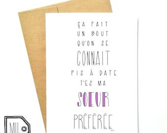 French card - funny sister card - card for sister - sister card - sister - sœur - my favorite sister -ma sœur préférée
