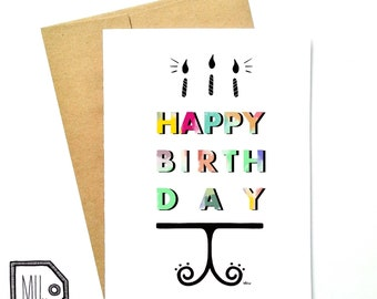 Birthday card - colorful birthday card - happy birthday card - funny card - birthday cake - happy birthday