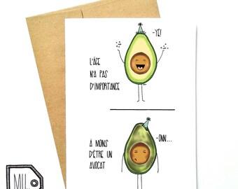 French card - birthday card - funny birthday card - Happy birthday card - funny card - food card - avocado card - avocado illustration
