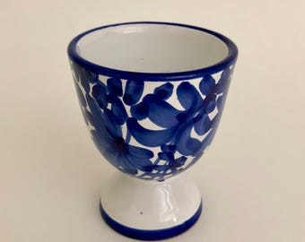Blue and White Italian Egg Cup Hand-painted