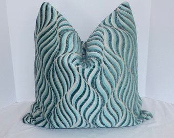 Blue Swirl Graphic Print Pillow Cover Blue 22x22