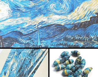 Printable paper bead sheet, yellow and blue Starry Night. A4 digital paper for bead making or scrapbooking.