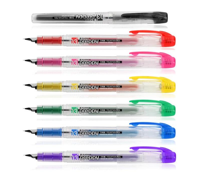 Platinum Preppy Set of 7 Colors Disposable 0.3mm Fine Point Fountain Pen