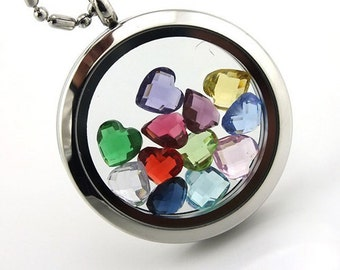 1 Each Month SILVER Girl Birthstone Floating Charm for Lockets HGC1097-1 to 12 12 Months