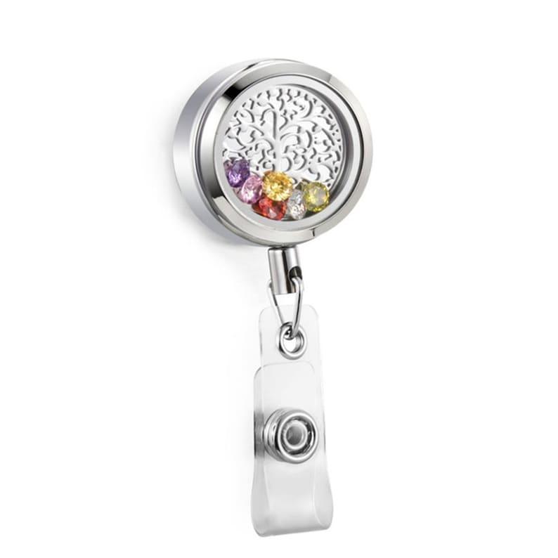 30mm Large Silver Stainless Steel Twist Top Retractable ID Badge Reel Floating Charm Living Memory Locket