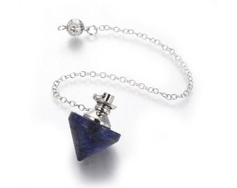 Natural lapis lazuli dowsing pendulum cone pendant, with brass chain and findings