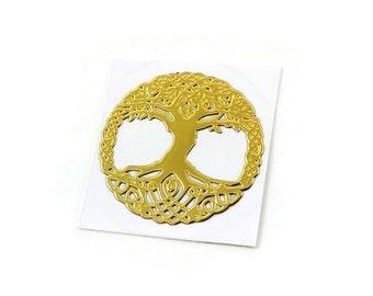 Self Adhesive Sticker, Brass Cabochons Sticker, Tree of Life, Golden, 20mm