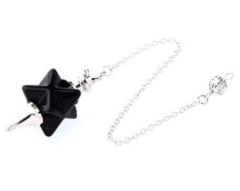 Natural gemstone dowsing pendulum big merkaba star pendant
