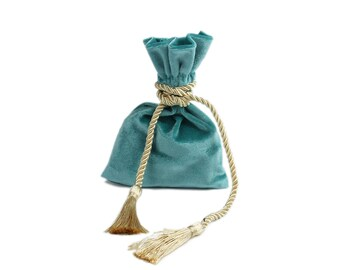 Aqua velvet pouch bag with tassel rope