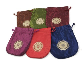 Satin pouch bag with gold sun