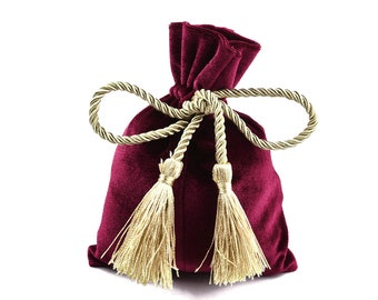 Rubis red velvet pouch bag with tassel rope