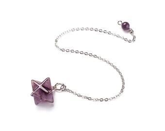 Natural amethyst dowsing pendulum merkaba star pendant, with brass chain