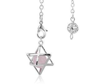Natural rose quartz dowsing pendulum star pendant