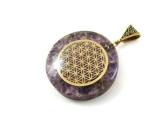 Round stone orgonite pendant with Flower of life