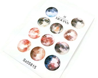 Uncut Stickers - Watercolor Moon and Planet DIY Sticker Sheet