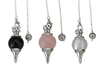 Natural gemstone dowsing pendulum pendant, with brass chain and findings - choose your stone