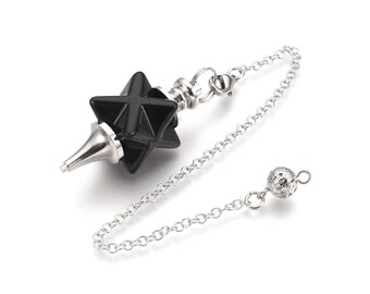 Natural black agate dowsing pendulum merkaba star pendant, with brass chain and findings