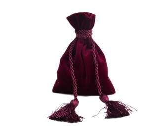 Wine red velvet pouch bag with tassel rope