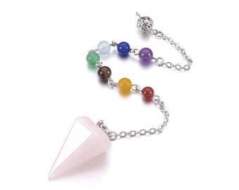 Natural rose quartz dowsing pendulum cone pendant, with mixed stone and brass chain