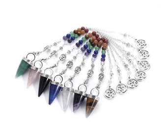 Natural chakra gemstone dowsing pendulum cone pendant, with alloy chain and brass findings