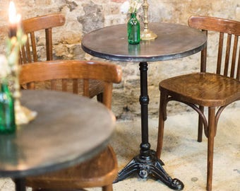 B I S T R O | Vintage Style Zinc Top Cafe Bistro Table French Style Iron  Tripod Leg Riveted