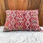 KNOTS | Vintage Berber Moroccan Kilim Pillow, Geometric Pattern, Red, White and Orange, Pre-stuffed, Wonderful Colourscheme