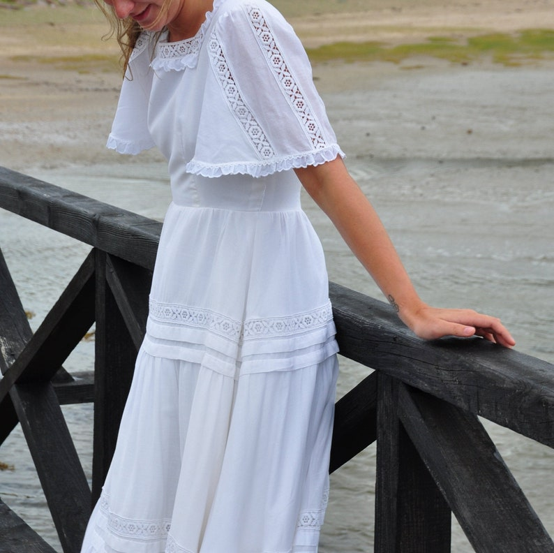ESME  Vintage 1970s cotton wedding dress Genuine Bohemian image 0