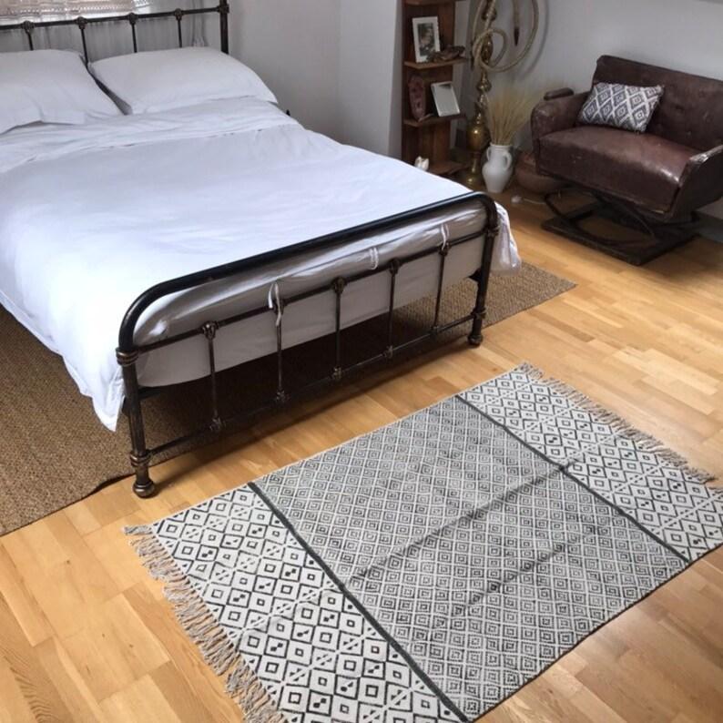 DHURRIE 5  Handmade Cotton Rug Handblocked dhurrie rug image 0