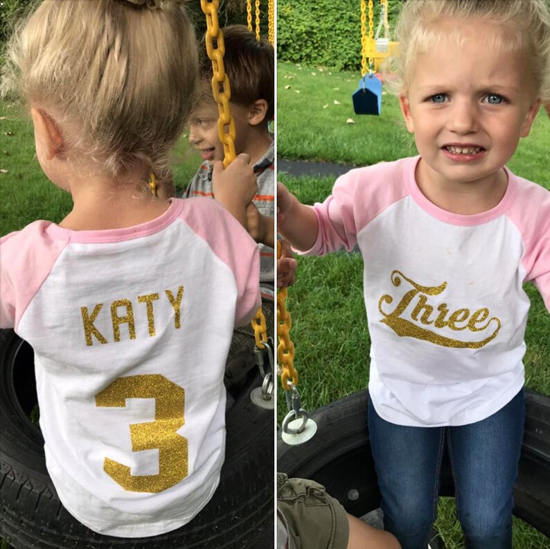 Three Year Old Girl Birthday Shirt Personalized Baseball