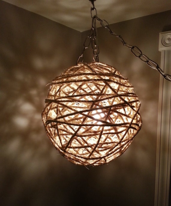 Items Similar To Wall Sconce Lighting: Items Similar To Rope Globe Hanging Light Fixture On Etsy