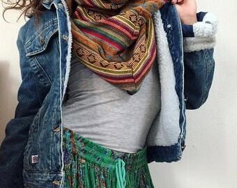 4 en 1 de mode foulard aztèque, col capuche, réversible unisexe  personnalisé, polaire népalais hiver   Tons naturels ethnique indien  sud-ouest au Népal bc0b4b4bb50