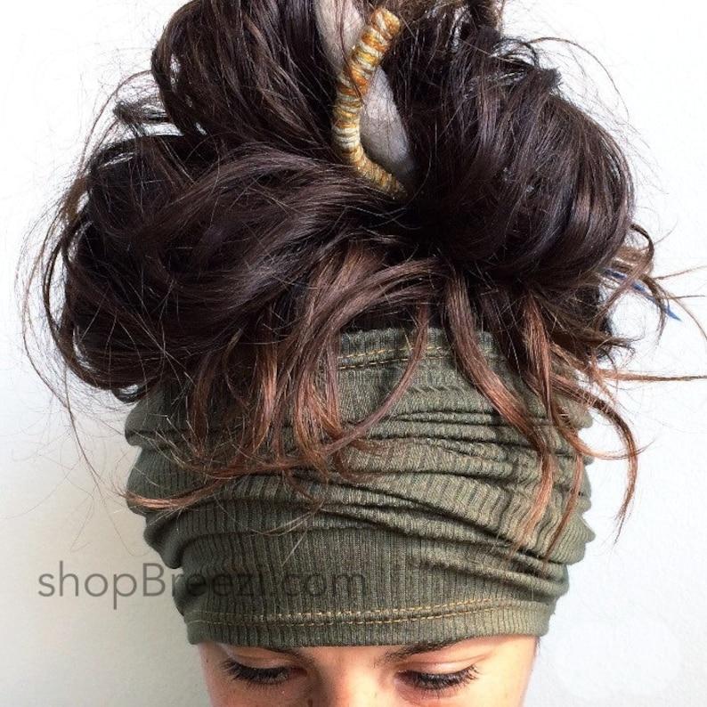 Olive Headband  Dreadband Hair Tube Dread Sock Loc Wrap image 0