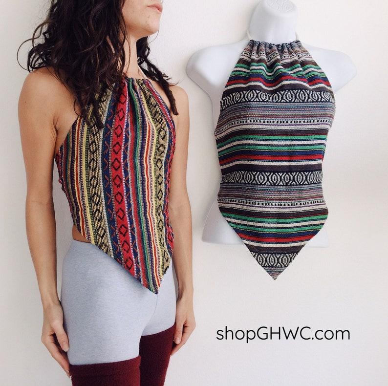 Movenza Crop Top Adjustable Halter Top Summer Top Festival Clothes Triangle Top Hippie Clothes Crop Top Aztec Print Open Back Top