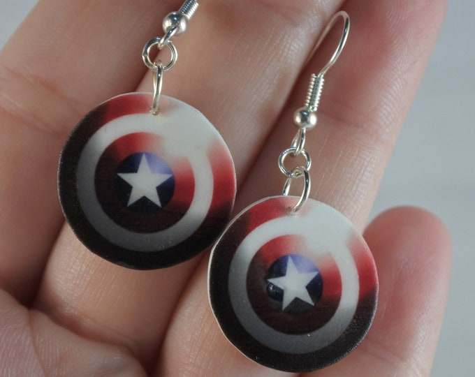 Featured listing image: Captain America Inspired Shield Dangle Earrings