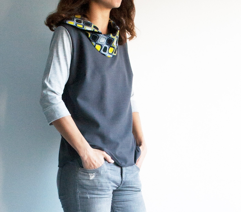 Grey tunic top with elegant collar womens grey top mustard yellow collar blouse casual top blouses for women casual blouse