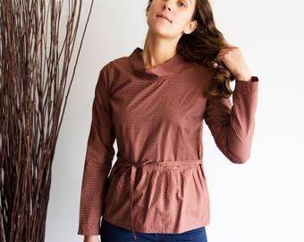 Peplum top women, Womens ruffle tops, Casual womens blouse, Loose womens blouse, Printed shirt ideas, Full sleeve top