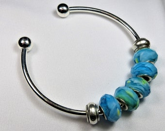 Ad-ab-bead Faceted Turquoise Glass Beads