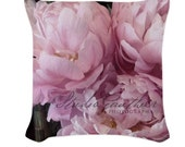 Designer throw pillow cover dusty rose | pale pink peony pillow | Les Pivoines Roses. Ask about reversible option